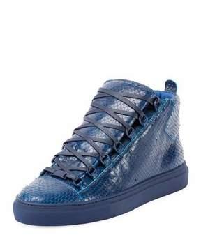 Balenciaga Men's Arena Faux-Python Leather High-Top Sneaker