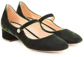 Rupert Sanderson Velvet Mary-Jane heels