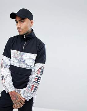Jaded London Overhead Windbreaker Jacket In Black With Map Print