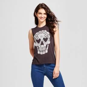 Fifth Sun Women's Lacey Skull Graphic Tank Top Black Juniors')