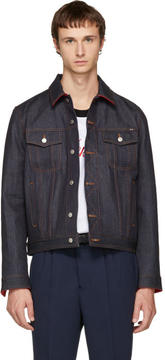 Ami Alexandre Mattiussi Indigo and Red Denim Jacket