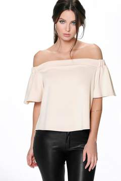 boohoo Petite Off The Shoulder Scuba Frill Top