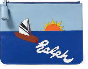 Ralph Lauren Sailboat Leather Zip Pouch