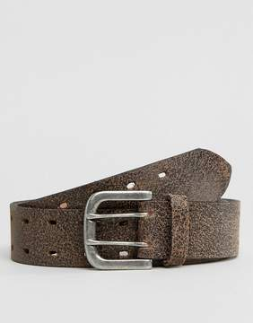 Asos Leather Wide Belt In Brown With Vintage Finish
