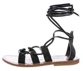 K Jacques St Tropez Leather Lace-Up Sandals