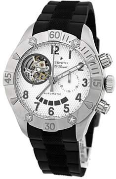 Zenith Stainless Steel  Defy Classic Open El Primero Chronograph Strapwatch