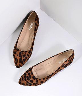 Unique Vintage Leopard Print Suede Pointed Toe Flats Shoes