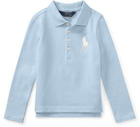 Ralph Lauren | Stretch Mesh Long-Sleeve Polo | 6 years | Elite blue
