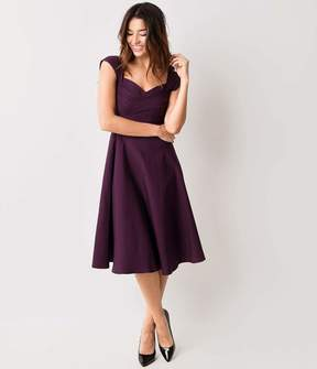 Stop Staring Mad Style Eggplant Cap Sleeve Swing Dress
