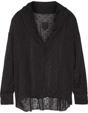 RtA Blanche Flocked Silk-Chiffon Shirt