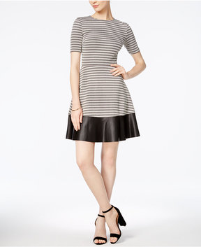 Bar III Faux-Leather-Trim Fit & Flare Dress, Created for Macy's