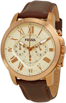 Fossil Grant Chronograph Eggshell Dial Brown Leather Men's Watch