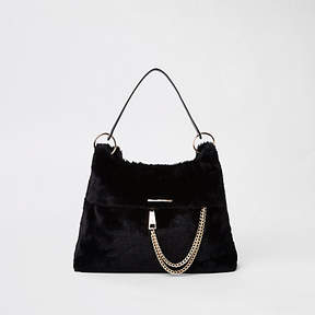 River Island Black faux fur chain front slouch bag