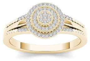 Imperial Star 1/6Ct TDW Diamond 10K Yellow Gold Cluster Halo Engagement Ring