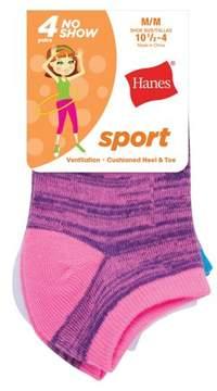 Hanes Girls' Sport No Show Socks, 4 Pairs