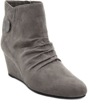 London Fog Gray Slouchy Wedge Bootie