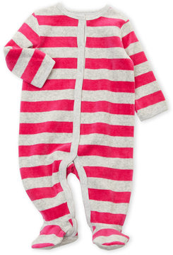Petit Lem Newborn/Infant Girls) Velour Striped Footie