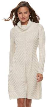 Dana Buchman Women's Mitered Cowlneck Sweater Dress
