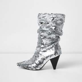 River Island Womens Silver sequin cone heel boots