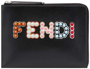 Fendi Black Studded logo Leather Pouch