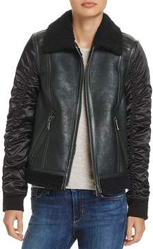 Andrew Marc Tally Shearling Trim Mixed Media Jacket