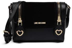Love Moschino PU Leather Metal Hearts Zipper Crossbody Bag