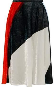 Cédric Charlier Pleated Color-Block Crushed-Velvet Skirt
