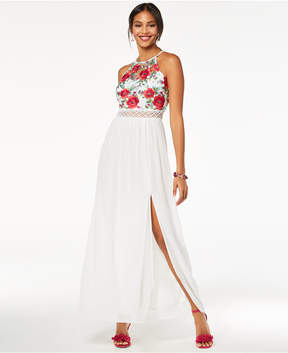 BCX Juniors' Embroidered Crochet-Trimmed Gown