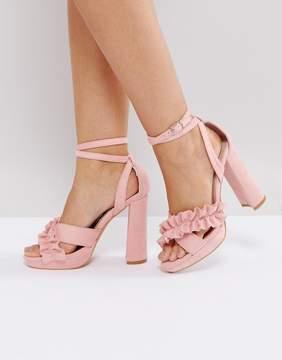 Glamorous Pink Ruffle Cross Strap Heeled Sandals