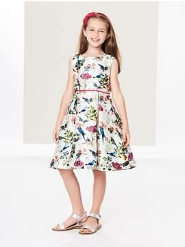 Oscar de la Renta Kids Kids | Botanical Birds Mikado Pleated Dress