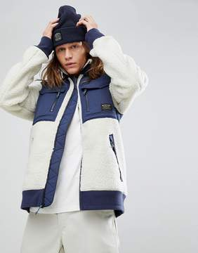 Burton Snowboards Bower Borg Fleece Jacket in White/Navy