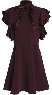Cinq à Sept Pussy-Bow Ruffled Crepe Turtleneck Mini Dress