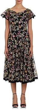 Zac Posen Women's Embroidered Silk Organza Flared Dress
