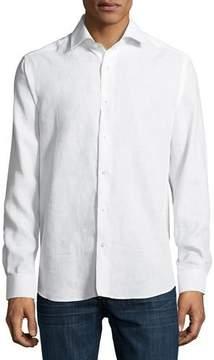 Neiman Marcus Solid Linen Sport Shirt, White
