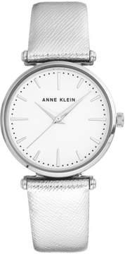 Anne Klein Silvertone Round Stone Metallic Strap Watch