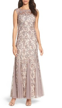 Adrianna Papell Women's Beaded Lace Gown