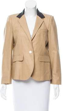 Boy By Band Of Outsiders Leather-Accented Wool Blazer