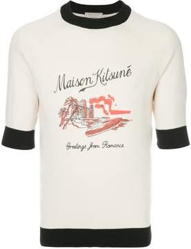 MAISON KITSUNÉ city beach print T-shirt