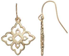 Chaps Openwork Quatrefoil Drop Earrings