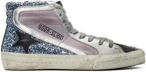 Golden Goose Deluxe Brand Purple and Blue Glitter Slide High-Top Sneakers