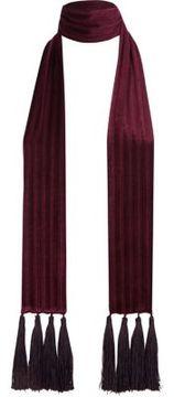 River Island Womens Dark red velvet tassel scarf