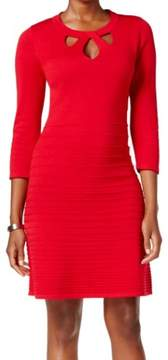 Nine West Womens Cut-Out Fit & Flare Sweaterdress