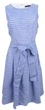 Tommy Hilfiger Women's Illusion-Striped Pleated Dress