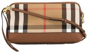 Burberry Tan Leather and House Check Abingdon Clutch Bag - TAN - STYLE