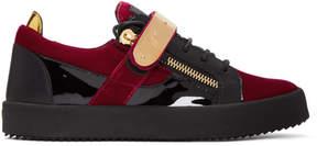 Giuseppe Zanotti Red and Black Velvet May London Sneakers