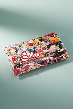 Anthropologie Sparkled Flora Clutch