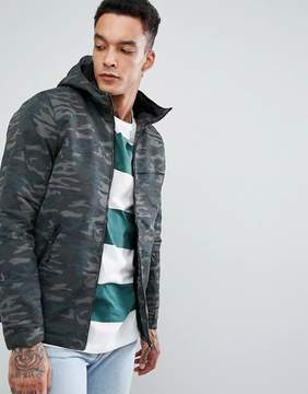 Pull&Bear Fleece Lined Parka Jacket In Camo