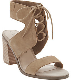Sole Society As Is Suede Lace-Up Block Heel Sandals - Auburn