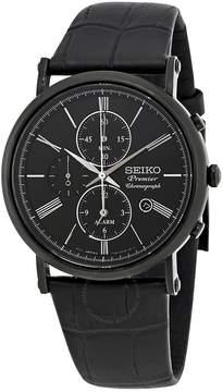 Seiko Premier Alarm Chronograph Black Dial Men's Watch