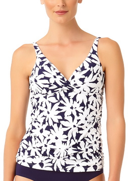 Anne Cole Navy & White Floral Tankini Top